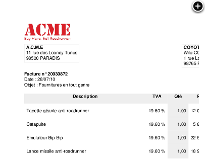 Sample invoice generated by FacturationZen